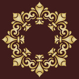 Oriental vector golden round pattern with arabesques and floral elements. Traditional classic ornament. Vintage pattern with arabesques - 243257548