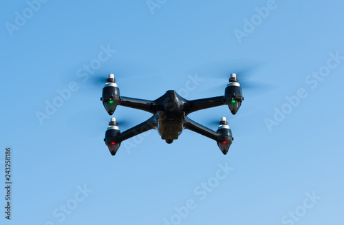 Closeup photo of a flying drone