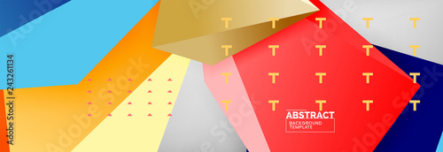 Bright colorful triangular poly 3d composition, abstract geometric background, minimal design, polygonal futuristic poster template - 243261134