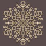Round vector snowflake. Abstract winter ornament. Golden snowflake - 243261999