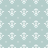 Classic seamless vector pattern. Damask orient blue and white ornament. Classic vintage background. Orient ornament for fabric, wallpaper and packaging - 243262526