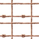 Watercolor rope fishing net pattern - 243263312