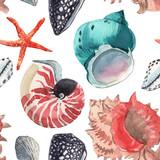 Watercolor sea life pattern - 243263339