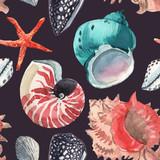 Watercolor sea life pattern - 243263366