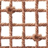 Watercolor rope fishing net pattern - 243263510