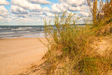 beach of the Baltic sea with beach grass and park bench in back light - 243265378