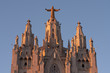Tibidabo church on mountain in Barcelona with christ statue