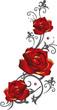 Filigrane graue Ranke mit roten Rosen und Blättern. Mit Gold abgesetzt.