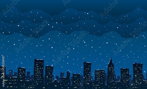 Wall mural Falling snow in big city. Vector illustration.