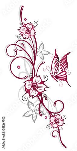 Wall mural Filigrane Ranke mit Blumen, Schmetterling und Kirschblüten. Kirschrot und grau.