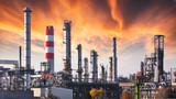 Oil refinery at dramatic twilight - 243280748