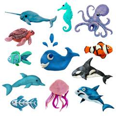 Colorful plasticine 3D sea animals  icons set isolated on white background © onanana