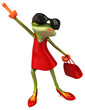 Fun woman frog - 3D Illustration - 243286368