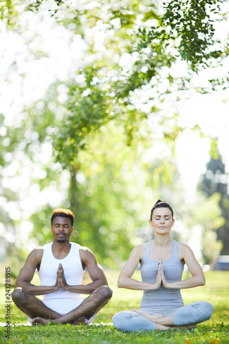 Calm peaceful young multi-ethnic couple sitting with crossed legs on grass and holding hands together in Namaste while meditating in summer park