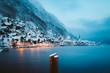 Leinwanddruck Bild - Twilight view of Hallstatt in winter, Salzkammergut, Austria