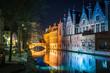Leinwanddruck Bild - Historic city of Brugge at night, Flanders, Belgium