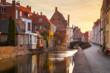 Leinwanddruck Bild - Historic city of Brugge at sunrise, Flanders, Belgium