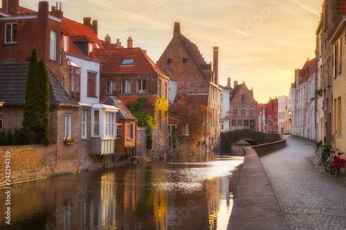 Leinwanddruck Bild Historic city of Brugge at sunrise, Flanders, Belgium