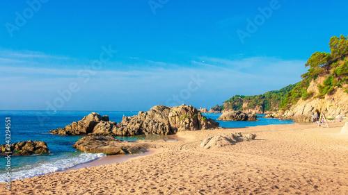 Sea beach landscape in Costa Brava. Cala de Boadella platja in Lloret de mar - 243294551