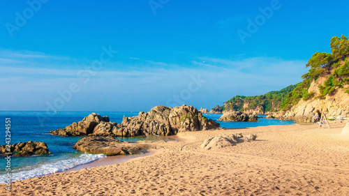 Leinwandbild Motiv Sea beach landscape in Costa Brava. Cala de Boadella platja in Lloret de mar