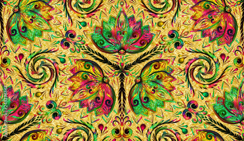 Floral Seamless Repeat Pattern, Flower Mandala, Nature Background - 243296367