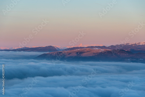 Foto Murales Dawn on the Mount Grappa in Italy. View from the summit