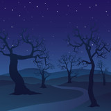 Forest landscape on night day with dead trees and a starry sky