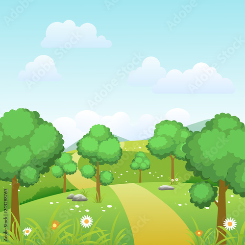 Spring landscape background with trees and green meadow on sunny day. Vector illustration