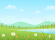 Green grass with flowers and blue lake on a mountains background. Nature vector landscape.