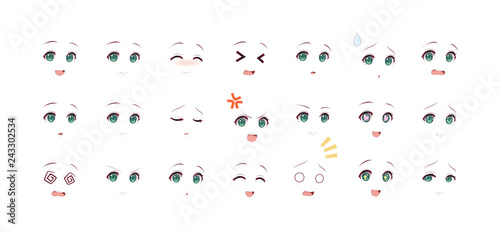 Emotions eyes of anime (manga) girls - 243302534