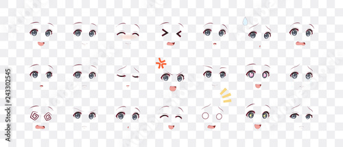 Emotions eyes of anime (manga) girls - 243302545