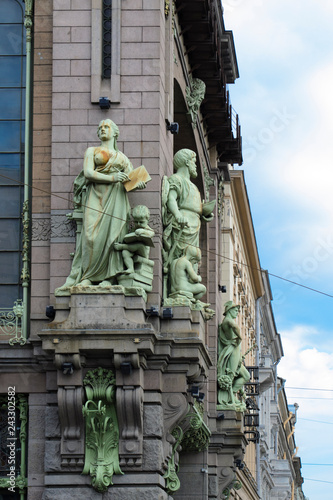 reliefs, sculptures, classical architecture of buildings in St. Petersburg
