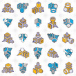 Abstract constructions vector set, dimensional designs collection. - 243306115