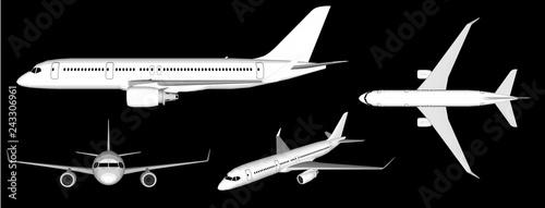 3D white plane vector