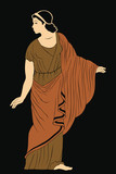 An ancient Greek woman in a tunic is standing. Vector image isolated on black background. - 243307904