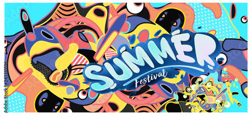 Vector colorful summer banner. Illustration background template for summer festival. Summer sale promotion banner and poster.