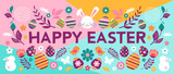 Happy Easter, vector banner with flowers, eggs and bunnies - 243310753
