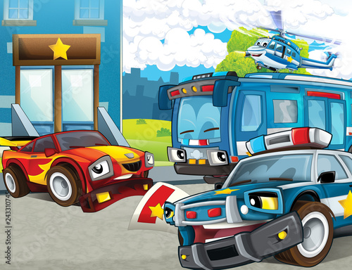 cartoon scene with police motorcycle car and bus driving through the city helicopter flying and policeman near police station - illustration for children