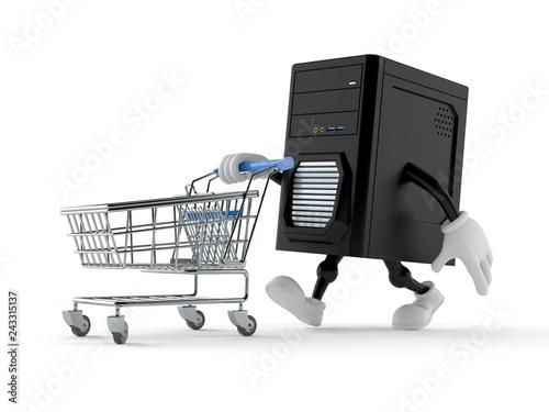 Leinwandbild Motiv Computer character with shopping cart
