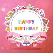 Birthday party pattern vector anniversary cartoon kids happy birth cake or cupcake celebration with gifts and birthday candles flags sticker backdrop girlie illustration background