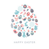 Happy Easter, vector banner with flowers, eggs and bunnies