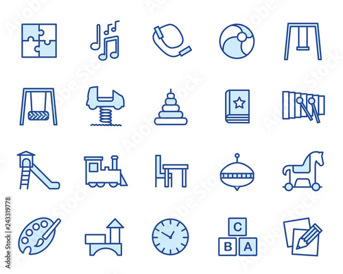 Kindergarten, Kita, Krippe, Hort Vector Icon Illustration Set