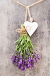 Leinwanddruck Bild - Lavender flowers, bouquet on rustic background, overhead.