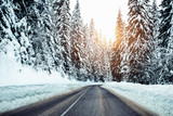 Winter road and forest snow. - Image - 243323164
