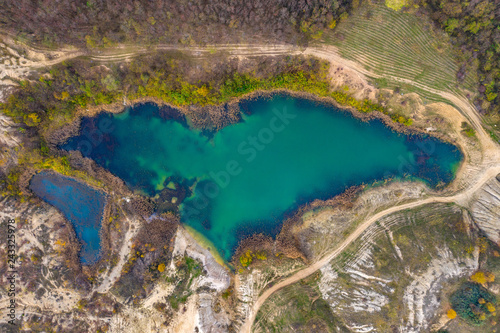 Aerial drone shot of a lake, opencast mine