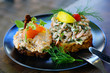 Scandinavian Smorrebrod open-faced sandwich with cold shrimp in Denmark  - 243327105