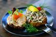Scandinavian Smorrebrod open-faced sandwich with cold shrimp in Denmark  - 243327105