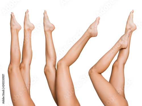 Leinwanddruck Bild Naked woman posing with her beautiful legs
