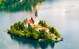 Aerial view of Bled Island in Slovenia