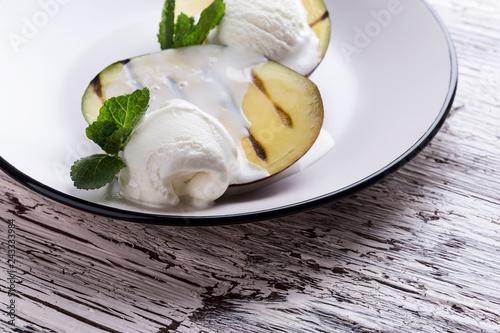 Sticker Grilled mango dessert with ice cream